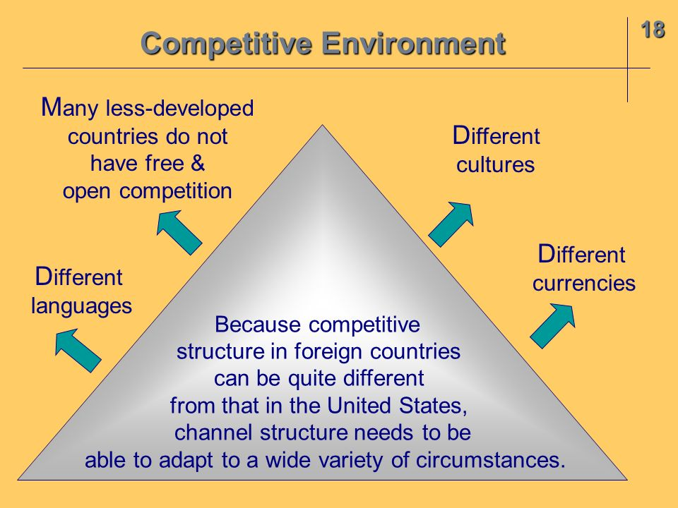 18 Competitive Environment Because competitive structure in foreign countries can be quite different from that in the United States, channel structure needs to be able to adapt to a wide variety of circumstances.