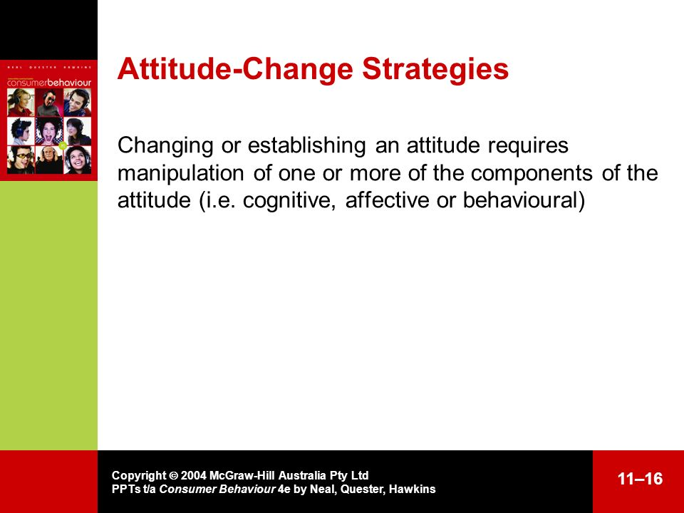 Copyright 2004 McGraw-Hill Australia Pty Ltd PPTs t/a Consumer Behaviour 4e by Neal, Quester, Hawkins 11–16 Attitude-Change Strategies Changing or est