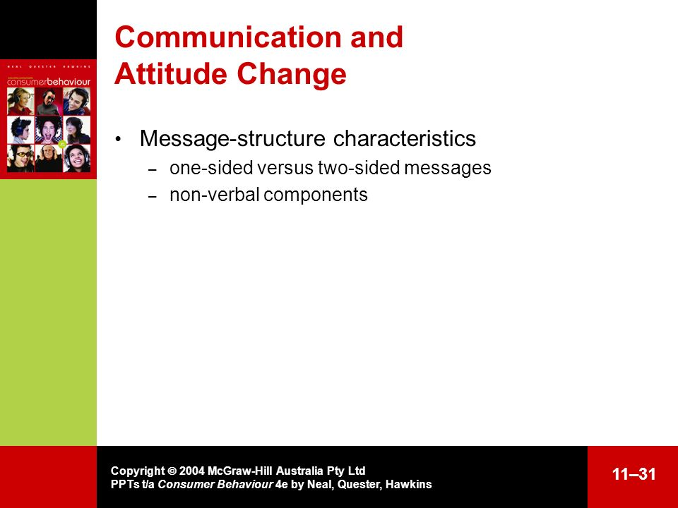 Copyright 2004 McGraw-Hill Australia Pty Ltd PPTs t/a Consumer Behaviour 4e by Neal, Quester, Hawkins 11–31 Communication and Attitude Change Message-