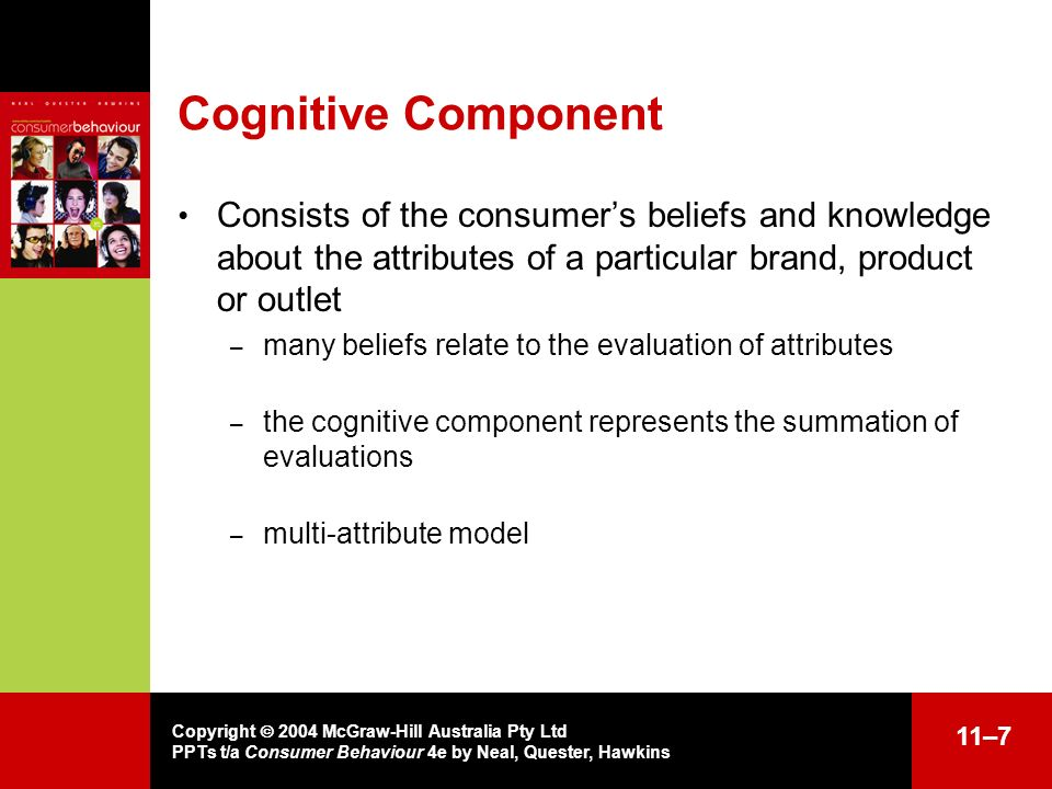 Copyright 2004 McGraw-Hill Australia Pty Ltd PPTs t/a Consumer Behaviour 4e by Neal, Quester, Hawkins 11–7 Cognitive Component Consists of the consume