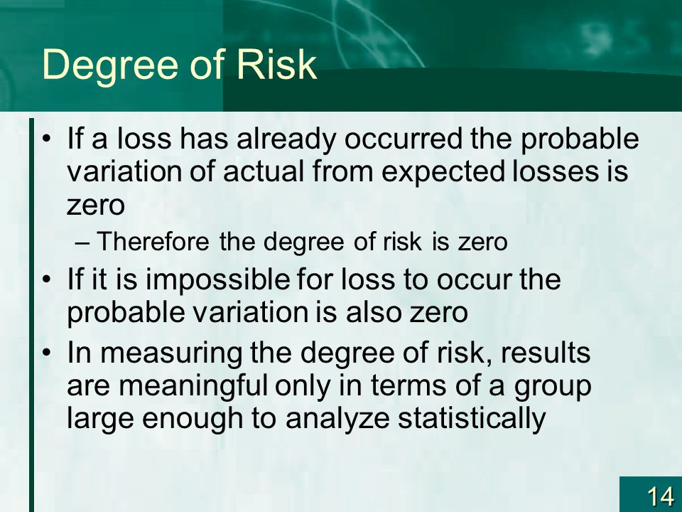14 Degree of Risk If a loss has already occurred the probable variation of actual from expected losses is zero –Therefore the degree of risk is zero If it is impossible for loss to occur the probable variation is also zero In measuring the degree of risk, results are meaningful only in terms of a group large enough to analyze statistically