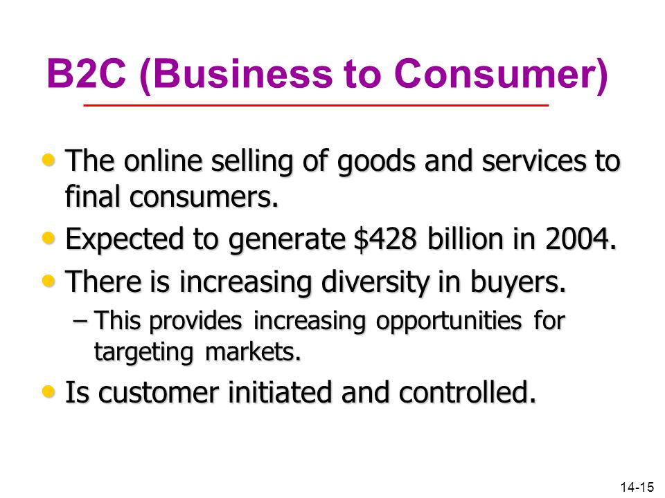 14-15 B2C (Business to Consumer) The online selling of goods and services to final consumers. The online selling of goods and services to final consum