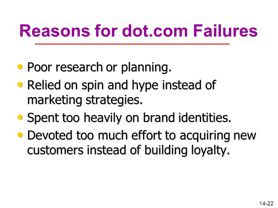 14-22 Reasons for dot.com Failures Poor research or planning. Poor research or planning. Relied on spin and hype instead of marketing strategies. Reli