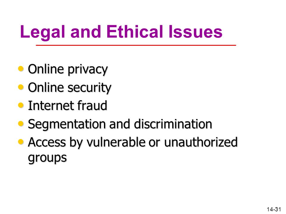 14-31 Legal and Ethical Issues Online privacy Online privacy Online security Online security Internet fraud Internet fraud Segmentation and discrimina
