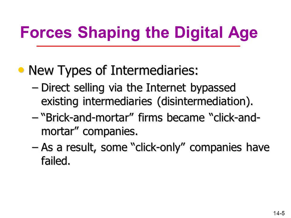 14-5 Forces Shaping the Digital Age New Types of Intermediaries: New Types of Intermediaries: –Direct selling via the Internet bypassed existing inter