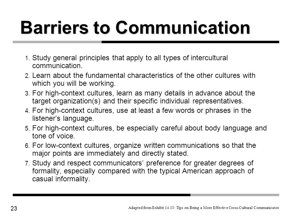 23 1. Study general principles that apply to all types of intercultural communication. 2. Learn about the fundamental characteristics of the other cul