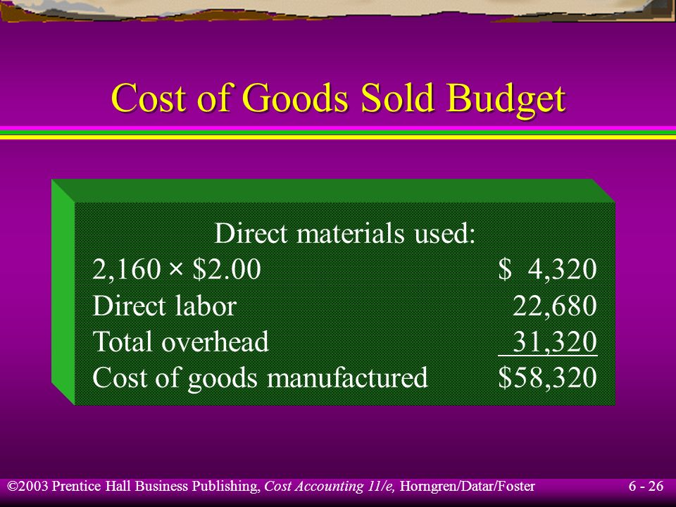 6 - 26 ©2003 Prentice Hall Business Publishing, Cost Accounting 11/e, Horngren/Datar/Foster Cost of Goods Sold Budget Direct materials used: 2,160 × $