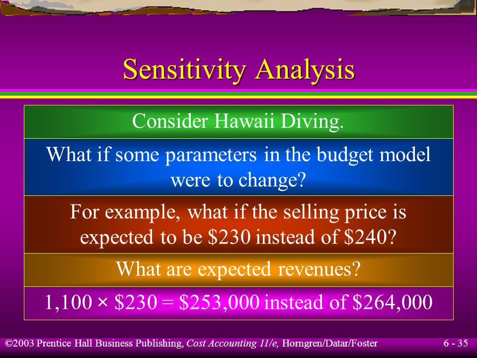 6 - 35 ©2003 Prentice Hall Business Publishing, Cost Accounting 11/e, Horngren/Datar/Foster Sensitivity Analysis Consider Hawaii Diving. What if some