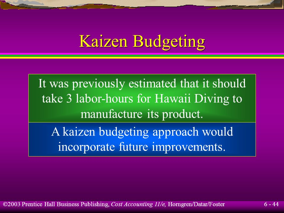 6 - 44 ©2003 Prentice Hall Business Publishing, Cost Accounting 11/e, Horngren/Datar/Foster Kaizen Budgeting It was previously estimated that it shoul