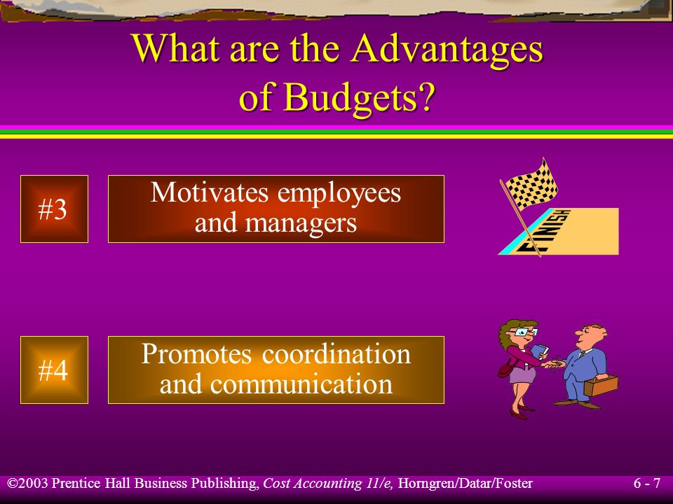 6 - 7 ©2003 Prentice Hall Business Publishing, Cost Accounting 11/e, Horngren/Datar/Foster What are the Advantages of Budgets? Motivates employees and