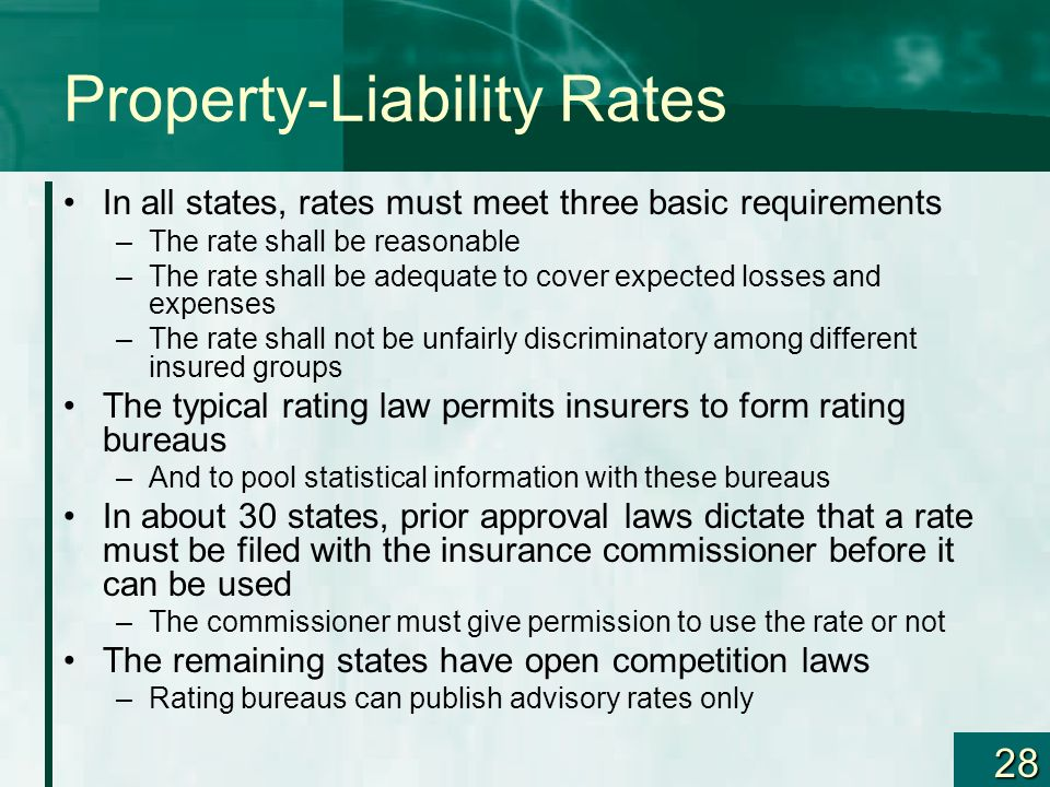 28 Property-Liability Rates In all states, rates must meet three basic requirements –The rate shall be reasonable –The rate shall be adequate to cover