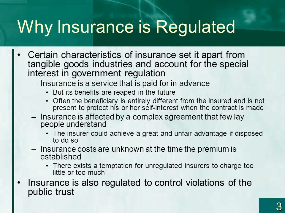 24 Guaranty Funds All states have enacted some type of legislation covering the insolvency of insurance companies Much of this legislation is patterned after the modern bill proposed by NAIC in 1969 –The purpose of the legislation is to Provide a mechanism for the payment of covered claims under certain insurance policies Avoid financial loss to claimants or policyholders because of the insolvency of an insurer Assist in the detection and prevention of insurer insolvencies Provide an association to assess the cost of such protection among insurers