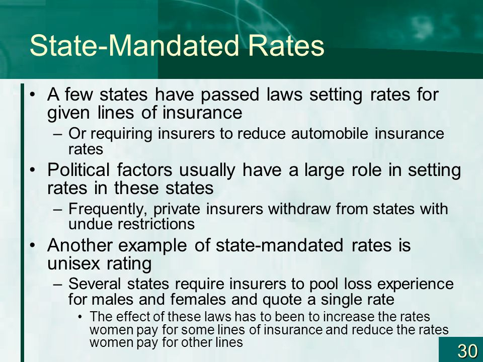 30 State-Mandated Rates A few states have passed laws setting rates for given lines of insurance –Or requiring insurers to reduce automobile insurance