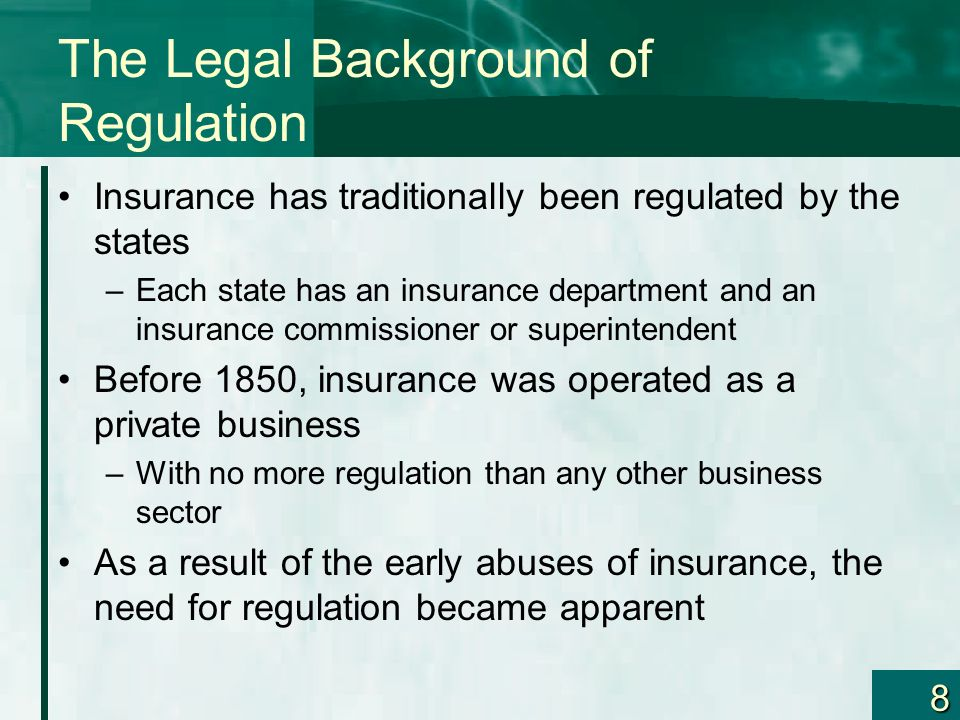 9 The Legal Background of Regulation In 1868 an important U.S.