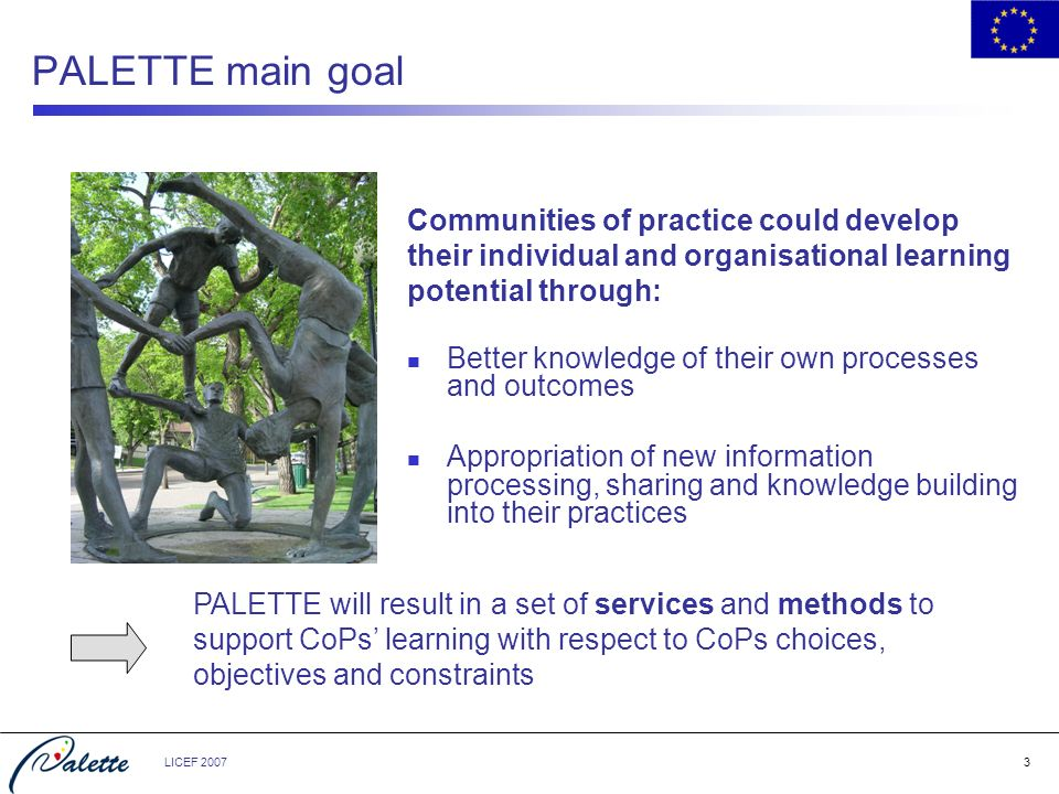 LICEF 20073 PALETTE main goal Better knowledge of their own processes and outcomes Appropriation of new information processing, sharing and knowledge