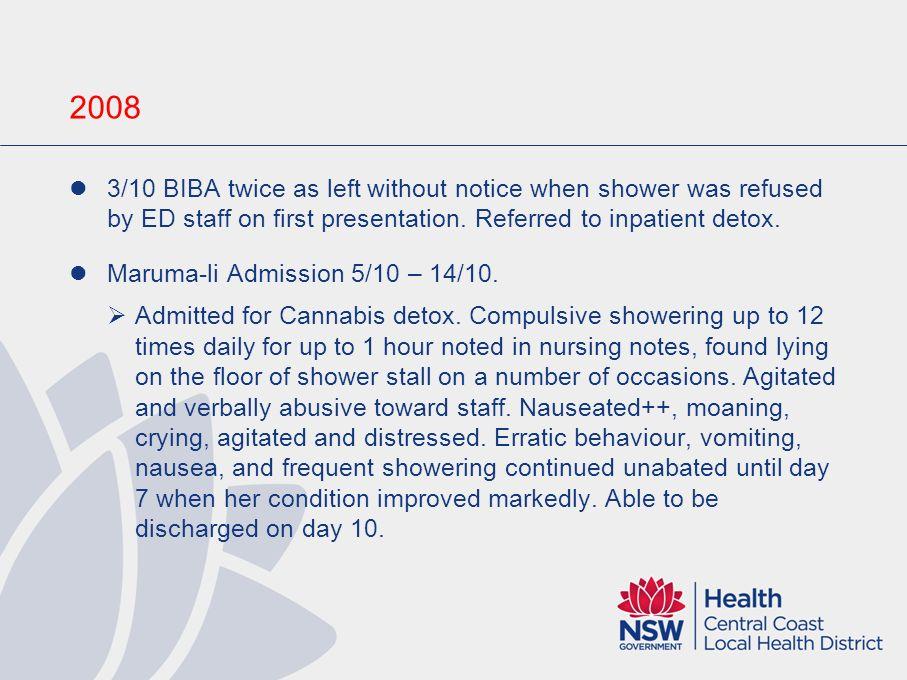 2006 First presentation to ED 18/5, BIBA via GP, ? Viral infection. Admitted 23/5 – 23/5 for Panendoscopy & Abdo CT, same NAD. 25/5 BIBA reporting sam
