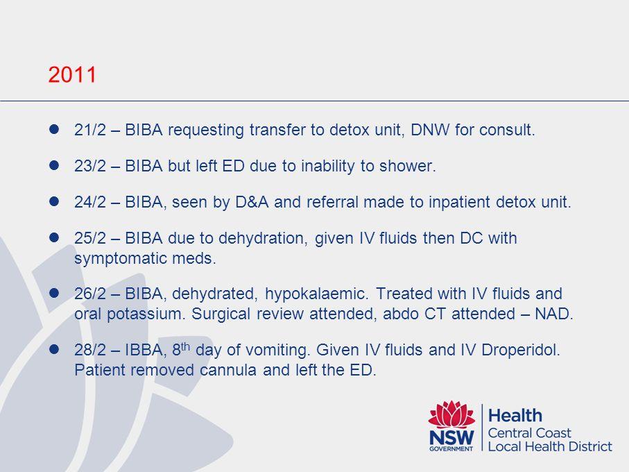 Inpatient Treatment Day 1 – Diazepam 15mg, Maxalon 30mg, Ondansetron 12mg, IV fluids. Day 2 – Diazepam 65mg, Maxalon 20mg, Buscopan 20mg, Ondansetron