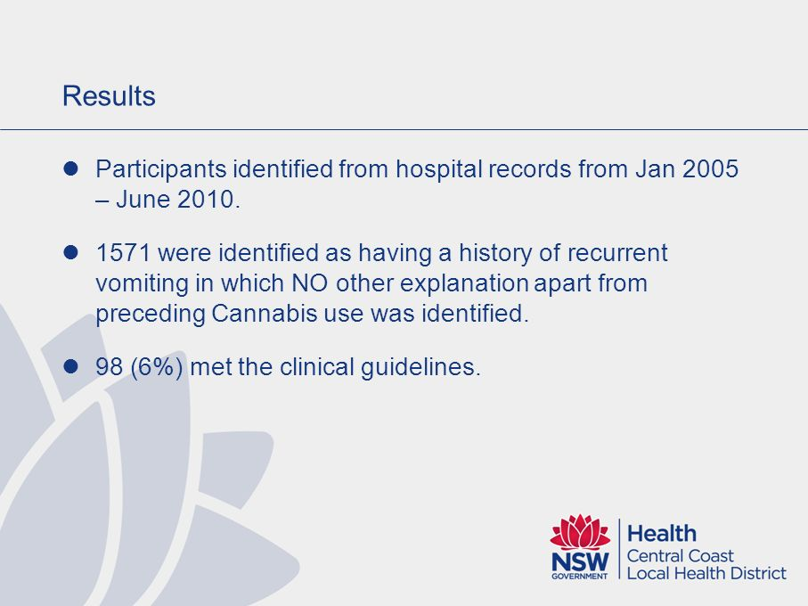 Results Participants identified from hospital records from Jan 2005 – June 2010.