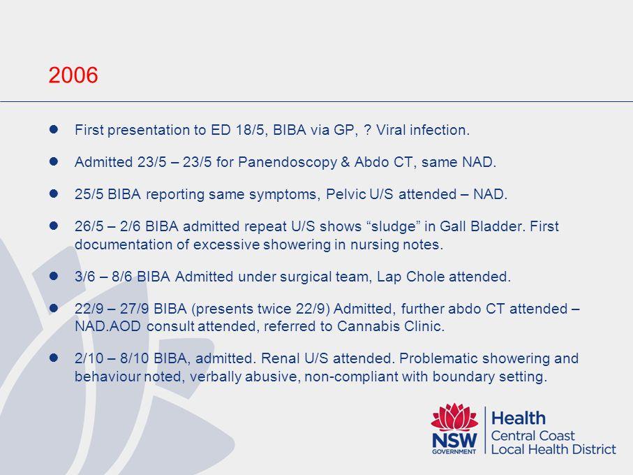 2006 First presentation to ED 18/5, BIBA via GP, .
