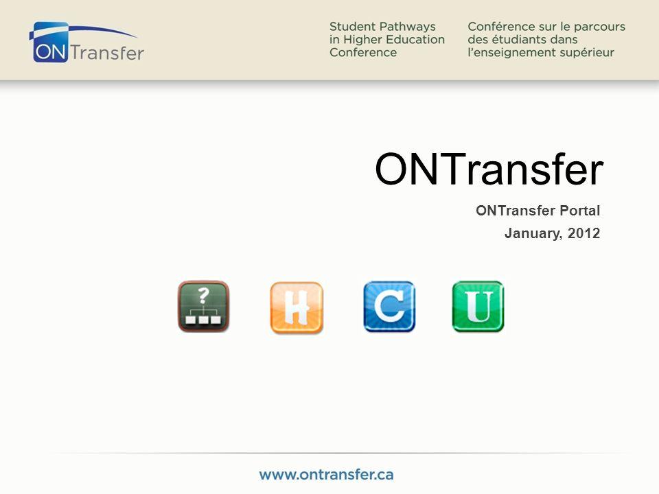 ONTransfer ONTransfer Portal January, 2012