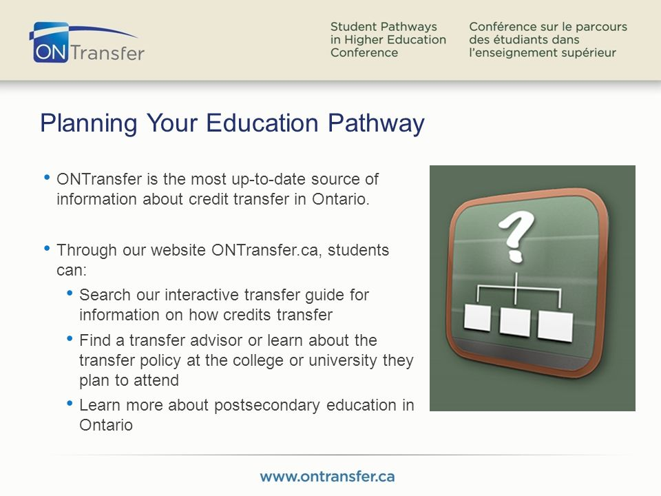 Planning Your Education Pathway ONTransfer is the most up-to-date source of information about credit transfer in Ontario.
