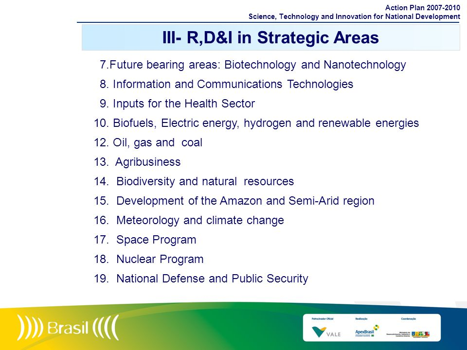 7.Future bearing areas: Biotechnology and Nanotechnology 8. Information and Communications Technologies 9. Inputs for the Health Sector 10. Biofuels,