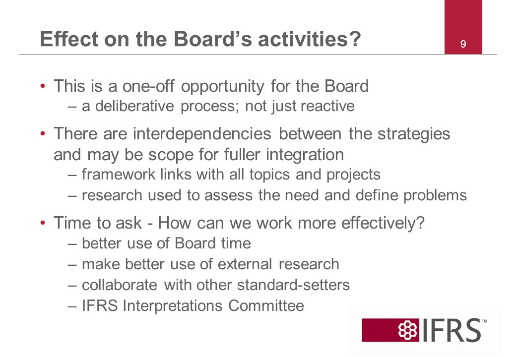 Effect on the Boards activities.