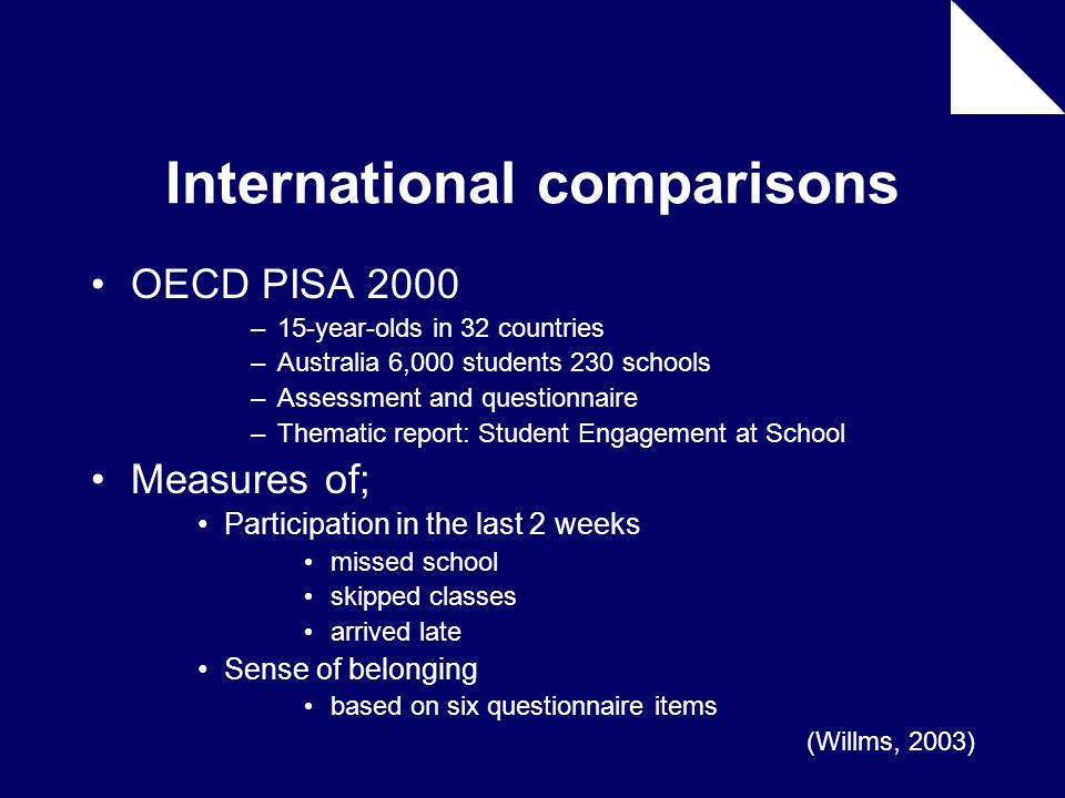 OECD PISA 2000 –15-year-olds in 32 countries –Australia 6,000 students 230 schools –Assessment and questionnaire –Thematic report: Student Engagement
