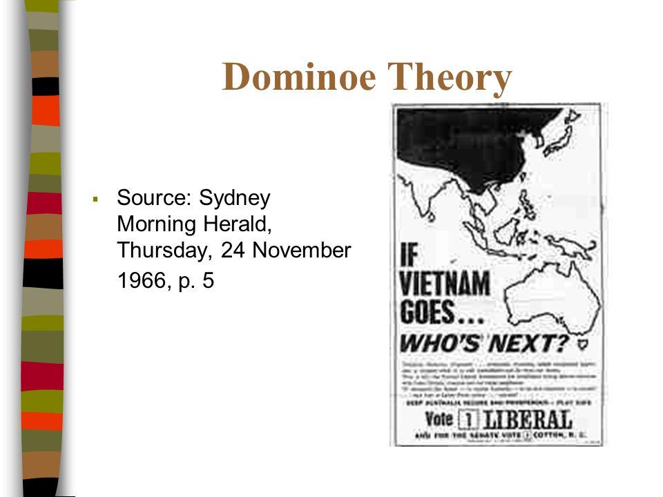 Dominoe Theory Source: Sydney Morning Herald, Thursday, 24 November 1966, p. 5