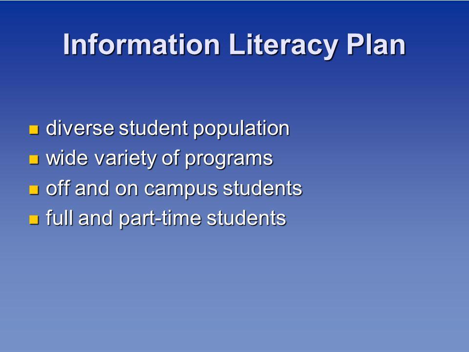 Information Literacy Plan diverse student population diverse student population wide variety of programs wide variety of programs off and on campus st