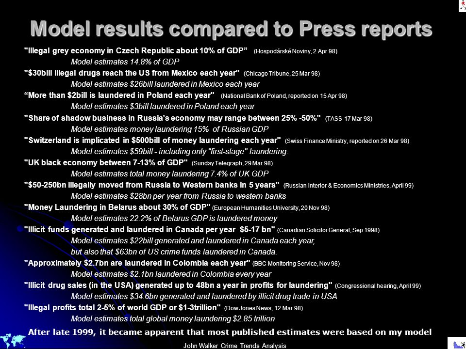 John Walker Crime Trends Analysis Model results compared to Press reports