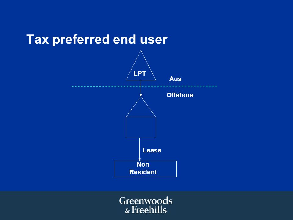 Tax preferred end user LPT Non Resident Lease Aus Offshore