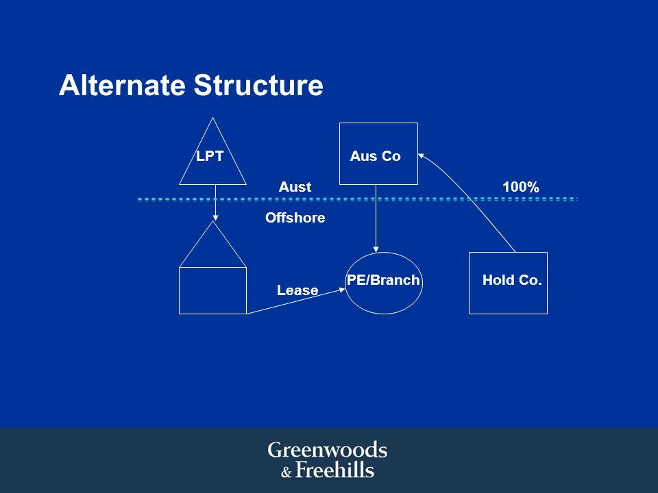 Alternate Structure LPT Lease PE/Branch Aus Co Hold Co. 100% Offshore Aust