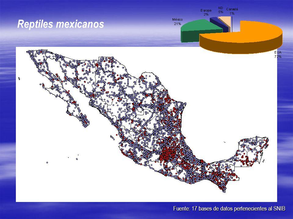 Fuente: 17 bases de datos pertenecientes al SNIB Reptiles mexicanos