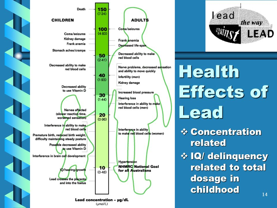 14 Health Effects of Lead Concentration related Concentration related IQ/ delinquency related to total dosage in childhood IQ/ delinquency related to