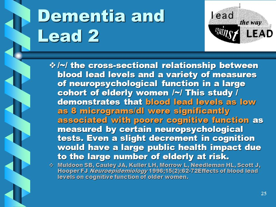 25 Dementia and Lead 2 /~/ the cross-sectional relationship between blood lead levels and a variety of measures of neuropsychological function in a la