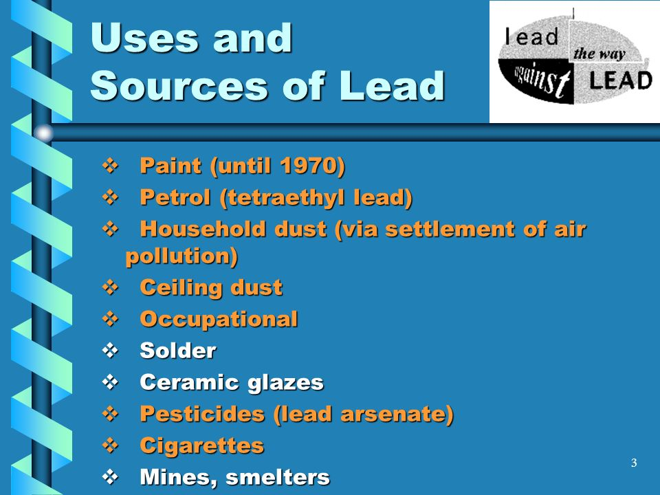 3 Uses and Sources of Lead Paint (until 1970) Paint (until 1970) Petrol (tetraethyl lead) Petrol (tetraethyl lead) Household dust (via settlement of a