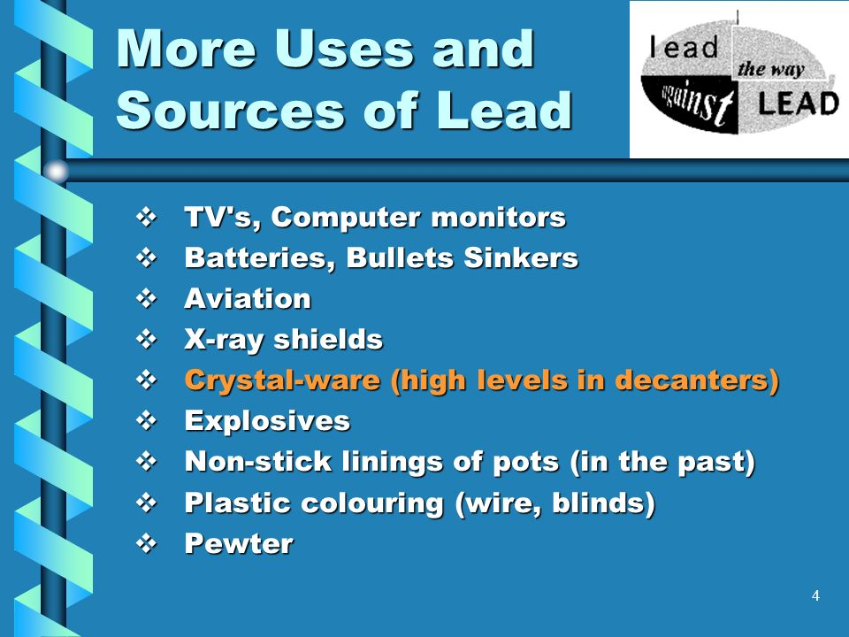 4 More Uses and Sources of Lead TV's, Computer monitors TV's, Computer monitors Batteries, Bullets Sinkers Batteries, Bullets Sinkers Aviation Aviatio