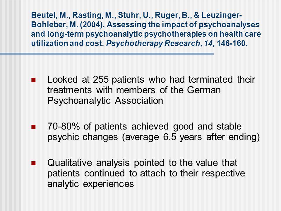 Beutel, M., Rasting, M., Stuhr, U., Ruger, B., & Leuzinger- Bohleber, M. (2004). Assessing the impact of psychoanalyses and long-term psychoanalytic p