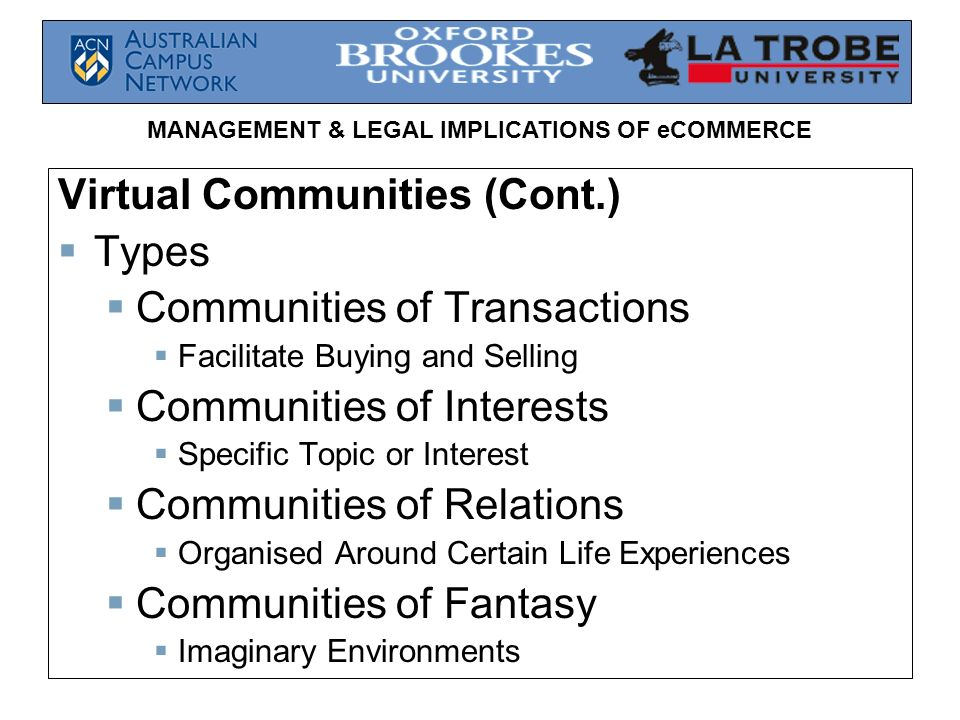 MANAGEMENT & LEGAL IMPLICATIONS OF eCOMMERCE Virtual Communities (Cont.) Types Communities of Transactions Facilitate Buying and Selling Communities o