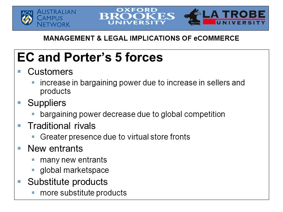 MANAGEMENT & LEGAL IMPLICATIONS OF eCOMMERCE EC and Porters 5 forces Customers increase in bargaining power due to increase in sellers and products Su