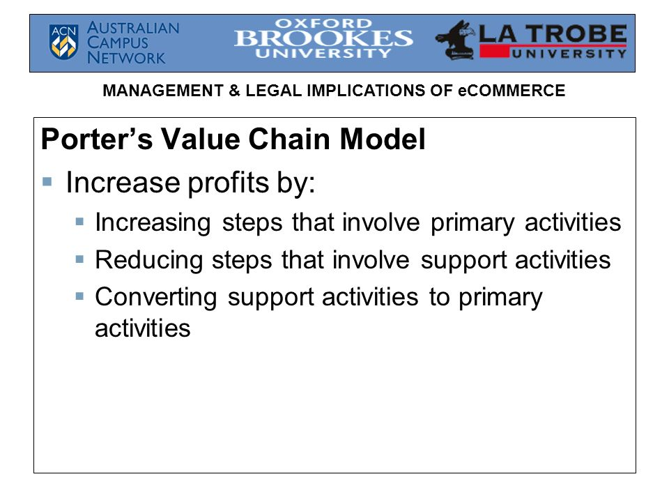 MANAGEMENT & LEGAL IMPLICATIONS OF eCOMMERCE Porters Value Chain Model Increase profits by: Increasing steps that involve primary activities Reducing