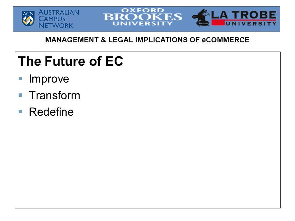 MANAGEMENT & LEGAL IMPLICATIONS OF eCOMMERCE The Future of EC Improve Transform Redefine