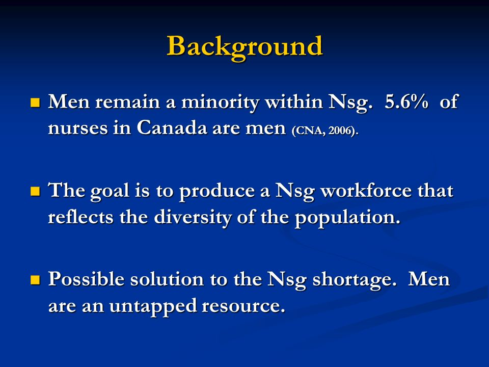 Background Men remain a minority within Nsg. 5.6% of nurses in Canada are men (CNA, 2006). Men remain a minority within Nsg. 5.6% of nurses in Canada