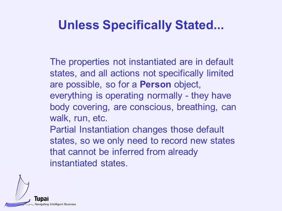 Unless Specifically Stated... The properties not instantiated are in default states, and all actions not specifically limited are possible, so for a P
