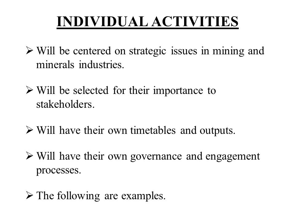 INDIVIDUAL ACTIVITIES Will be centered on strategic issues in mining and minerals industries. Will be selected for their importance to stakeholders. W