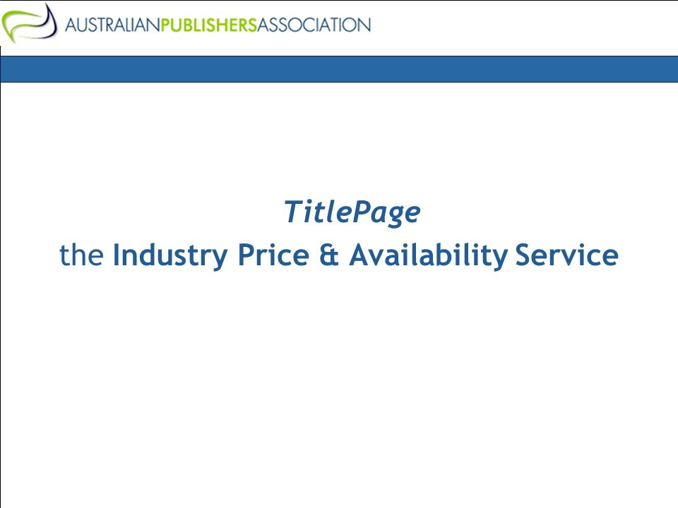 TitlePage the Industry Price & Availability Service