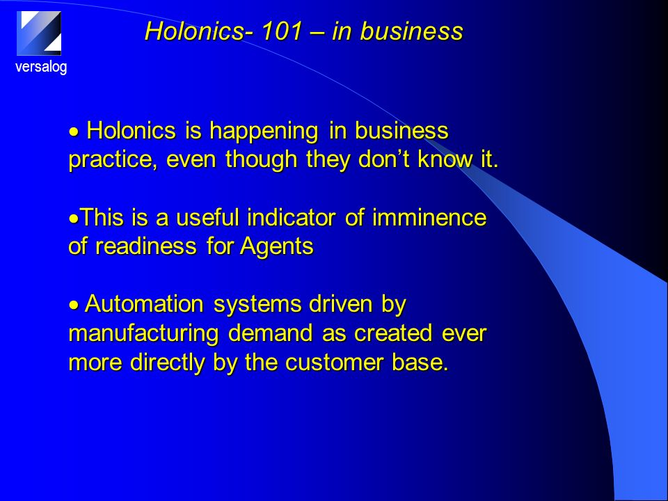 versalog Holonics- 101 – in business Holonics is happening in business practice, even though they dont know it.