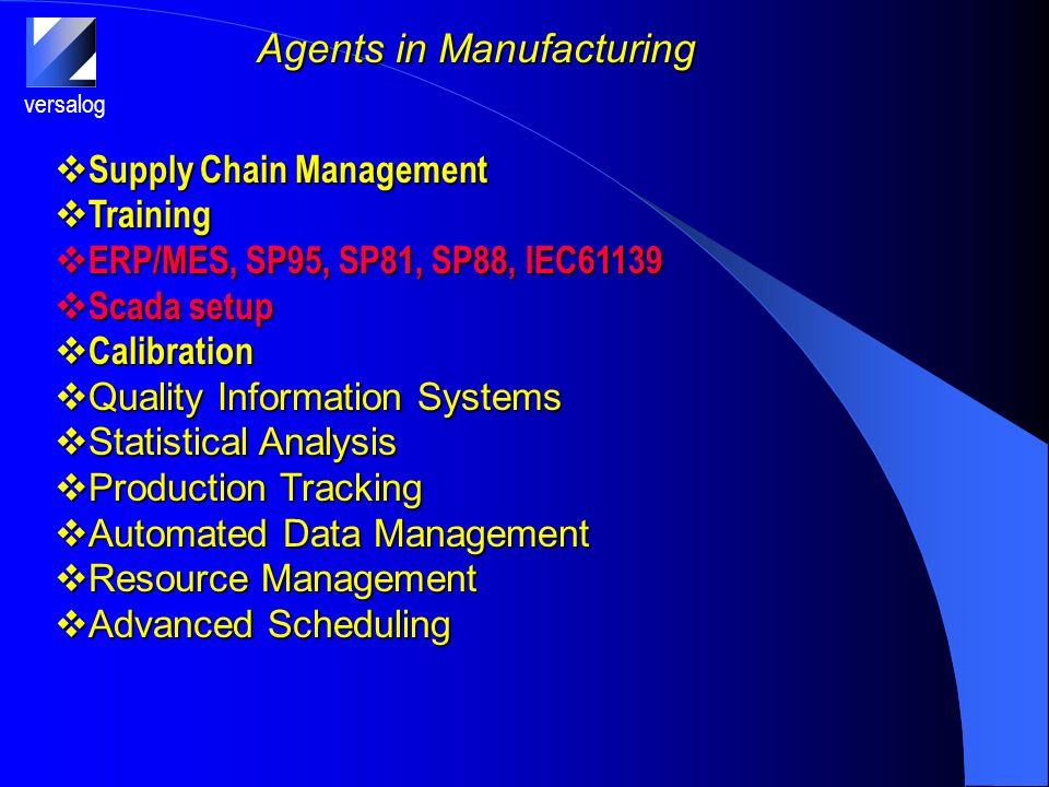 versalog Agents in Manufacturing Supply Chain Management Supply Chain Management Training Training ERP/MES, SP95, SP81, SP88, IEC61139 ERP/MES, SP95, SP81, SP88, IEC61139 Scada setup Scada setup Calibration Calibration Quality Information Systems Quality Information Systems Statistical Analysis Statistical Analysis Production Tracking Production Tracking Automated Data Management Automated Data Management Resource Management Resource Management Advanced Scheduling Advanced Scheduling