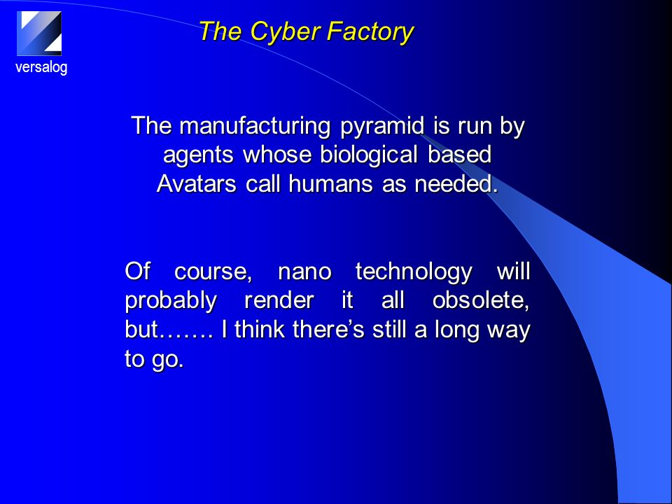 versalog The Cyber Factory The manufacturing pyramid is run by agents whose biological based Avatars call humans as needed.